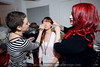 """Bethany Hood, Bailey Johnson and Raina Trimble get prepared in the dressing room before the """"Art Walks the Runway"""" show at the KY Museum of Art & Craft. April 12, 2013."""