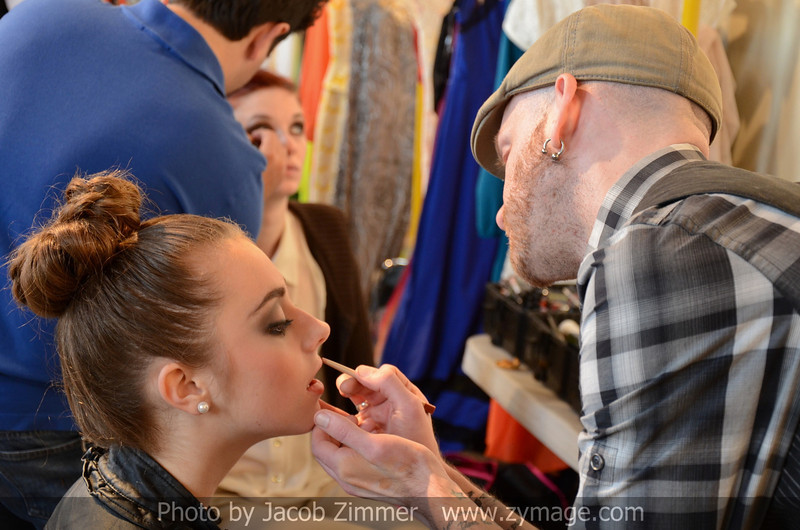 Madeline Miller has her make up done by Christopher Age.