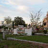 The magic moment of light at sunset warmed the colors of the cemetery.