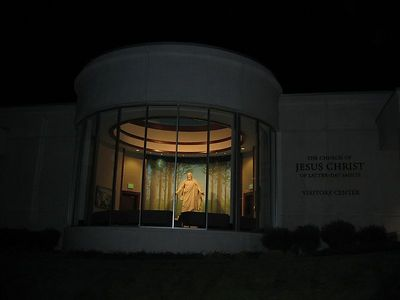 Christus inside the Visitors Center at night