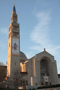 The Basilica of the National Shrine of the Immaculate Conception decorated with emormous banners to welcome the Pope.