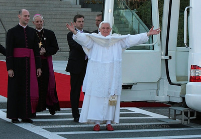 Pope Benedict thanks and embraces the crowd after we sang him Happy Birthday.