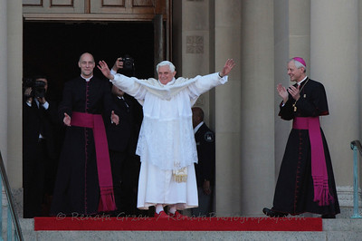 After his time ended at the Shrine, the Holy Father still finds cheering crowds outside almost 2 hours later.
