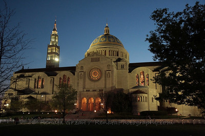 Basilica of the National Shrine of the Immaculate Conception at dusk after the papal visit.