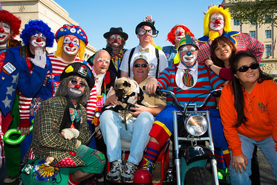 Clowns marching for the Shriners Hospitals for Children
