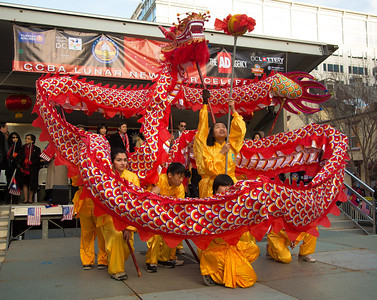 Students of the New World Bilingual Institute at George Mason University perform in the 2013 Chinese New Year parade in D.C.