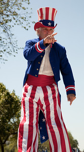 Steve Myott is Uncle Sam on stilts