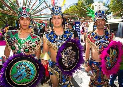Oliver, Paul, Servando Guadalufuno group Aztec dancers