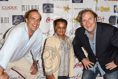 "LOS ANGELES, CA - JULY 29:  (L-R) Actor John Farley, actor Deep Roy and director Kevin Farley attend the ""Paranormal Movie"" wrap party at The Writer's Room on July 29, 2012 in Los Angeles, California.  (Photo by Chelsea Lauren/WireImage)"