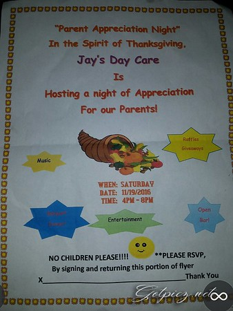 Jay's Day Care Parent Appreciation Night