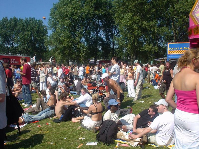 Just some people at the festival. Most people just chill...