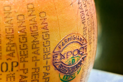 This marking is branded into the side of a wheel of Parmigiano-Reggiano.