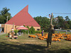We checked out this pumpkin patch, but the prices were a little high and we didn't have much cash. The roof reminds me of the Big Chicken! Fall fun with Heidi, 10/13/2012