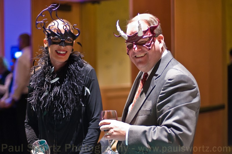 Dave and his wife in their fantastic masks.