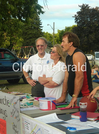 Dave Maze (left) Brenda Larkey and Ron Johnson represented Camanche Days at Camanche's Part in the Park on July 19 in City Park. • Katie Dahlstrom/Clinton Herald
