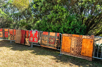 Siapo - traditional samoan cloth made from bark hanging on fence Pasifika Western Springs
