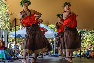 Group of tahitian women dancers on stage Pasifika Western Springs