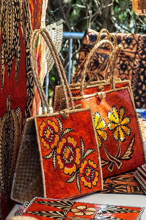 Hand made bags and siapo on display Pasifika Western Springs