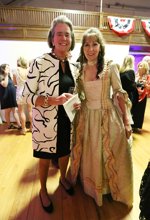 . Patriots\' Ball at Concord Armory. Dinny McIntyre, left, and Anna Winter, both of Concord. (SUN/Julia Malakie)