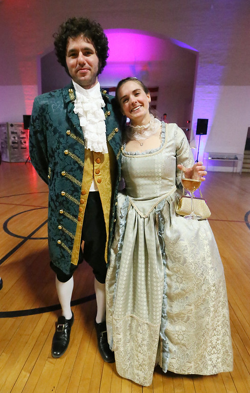 . Patriots\' Ball at Concord Armory. Lindsey Franklin, whose father is chair of the board of the Concord Museum, and her boyfriend Kevin Dillon, both of Somerville. (SUN/Julia Malakie)
