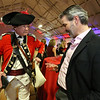 Patriots' Ball at Concord Armory. Don Beale of Rosendale, NY, in the uniform of the British Light Dragoon, and Adam Walton of Concord, originally from England, who said Beale is one of the good guys. (SUN/Julia Malakie)