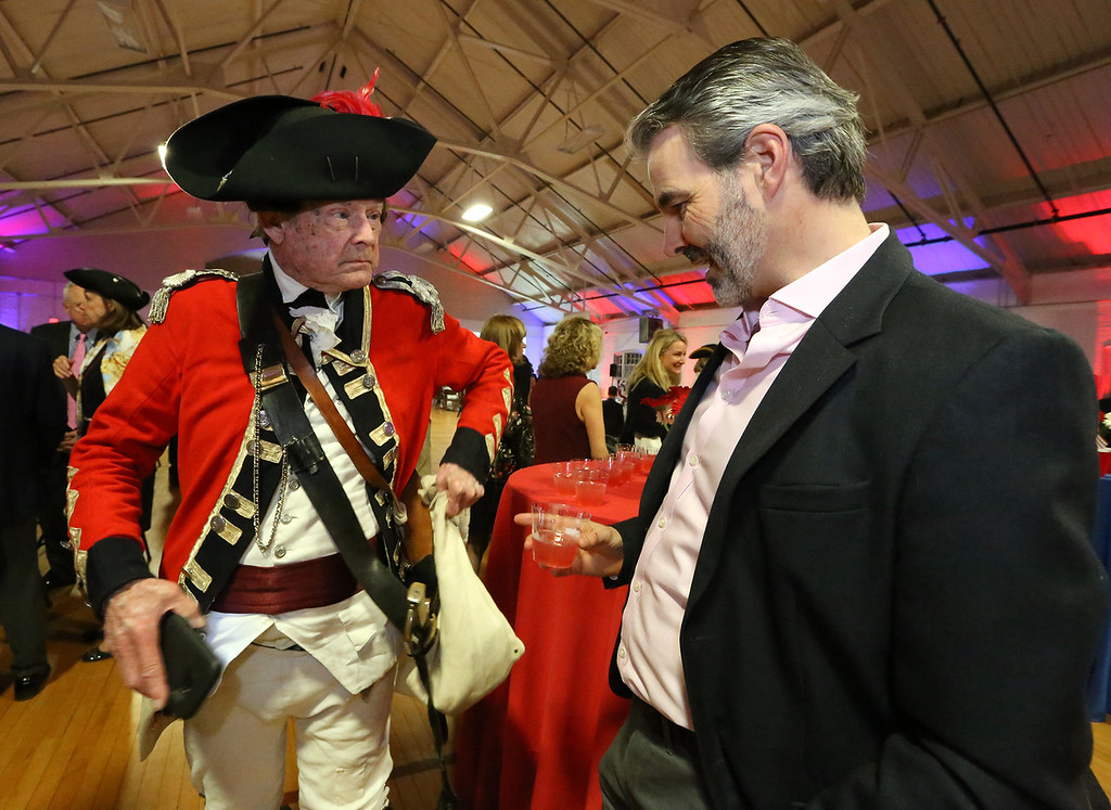. Patriots\' Ball at Concord Armory. Don Beale of Rosendale, NY, in the uniform of the British Light Dragoon, and Adam Walton of Concord, originally from England, who said Beale is one of the good guys. (SUN/Julia Malakie)