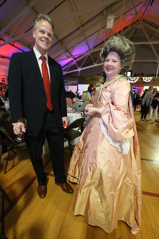 . Patriots\' Ball at Concord Armory. Ed Prewitt and his neighbor Jennifer Newbold, of Concord. (SUN/Julia Malakie)