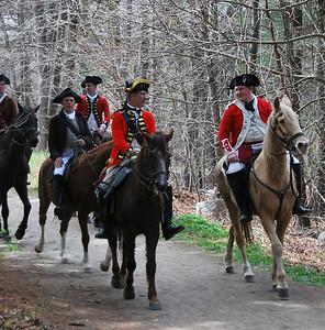 British Officer Reenactors on Horseback
