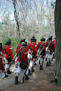 Nathaniel and British Reenactors on the Battle Road Trail at Minute Man NHP