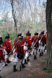 British Reenactors on the Battle Road Trail at Minute Man NHP