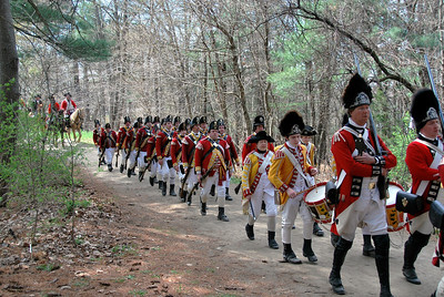 British Reenactors on the Battle Road Trail at Minute Man NHP with Nathaniel