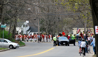 British Troops March from Munroe Tavern at the Tower Park Battle in Lexington