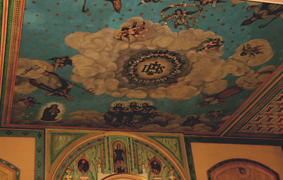 Ceiling over the altar. Mission Santa Clara.