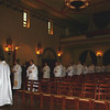 Jesuits from the Santa Clara University Community process into Mission Santa Clara Church.