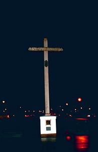 Crucifix outside Mission Santa Clara.