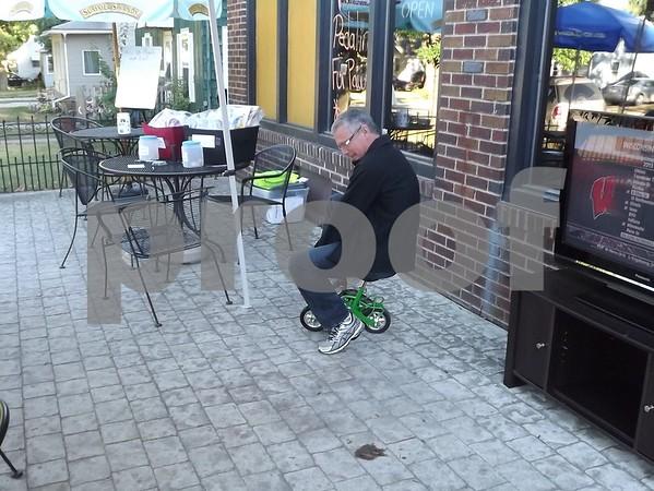 Dr Minion on the monkey bike.