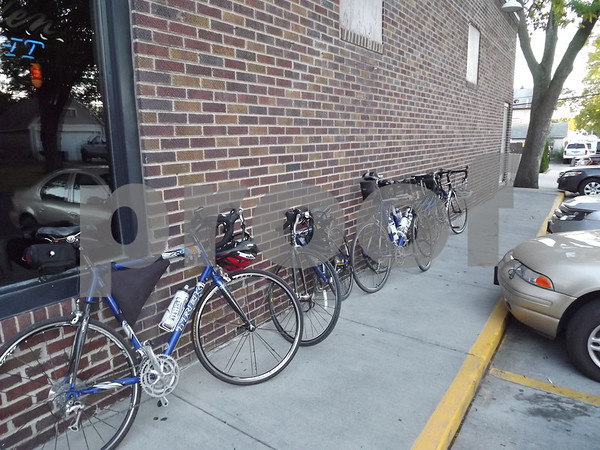 Bikes lined up at Lefties.