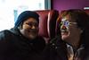 Skylene Metatawabin and her mother Denise Metatawabin on board coach 852 on the Polar Bear Express in Moosonee.