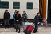 Members of the Peetabeck Iskwewuk Drumming Group on their way to Thunder Bay seen before boarding the Polar Bear Express in Moosonee.