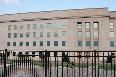 The rebuilt (left) and older (right) exterior walls of the Pentagon. -- Tenth Anniversary of September 11, 2001 (9-11-11) at the Pentagon Memorial