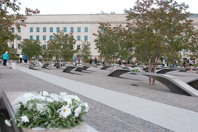 The memorial benches are arranged such that the Pentagon victims benches point away from the Pentagon, while the Flight 77 victims' benches point towards the Pentagon. -- Tenth Anniversary of September 11, 2001 (9-11-11) at the Pentagon Memorial