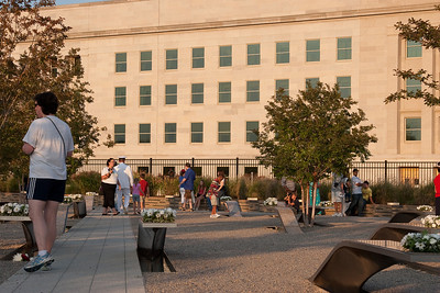 The benches are on an angle compared to the Pentagon wall, but this was apparently the angle of approach of the plane. -- Tenth Anniversary of September 11, 2001 (9-11-11) at the Pentagon Memorial