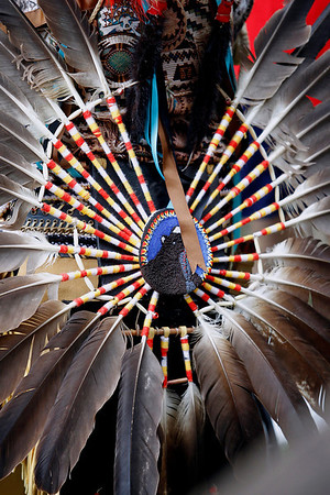 Record-Eagle/Jan-Michael Stump<br /> A male dancer's regalia at the Peshawbestown Traditional Pow Wow Saturday. The annual event is hosted by the Grand Traverse Band of Ottowa and Chippewa Indians