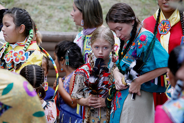 Record-Eagle/Jan-Michael Stump<br /> Dancers prepare for the Grand Entry in Saturday's Peshawbestown Traditional Pow Wow.