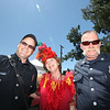 Laura Sunday flanked by Captain Dave Kahn on left and paramedic engineer, Stephen Curtis at The Great Petaluma Chili Cookoff, Salsa and Beer Tasting held at Herzog Hall in the Sonoma-Marin Fairgrounds on Saturday May 12, 2012. Photo by Victora Webb