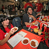 The Petaluma Argus-Courier's own Yovanna Bieberich has a good time judging along side Nick Grizzle at The Great Petaluma Chili Cookoff, Salsa and Beer Tasting held at Herzog Hall in the Sonoma-Marin Fairgrounds on Saturday May 12, 2012. Photo by Victora Webb