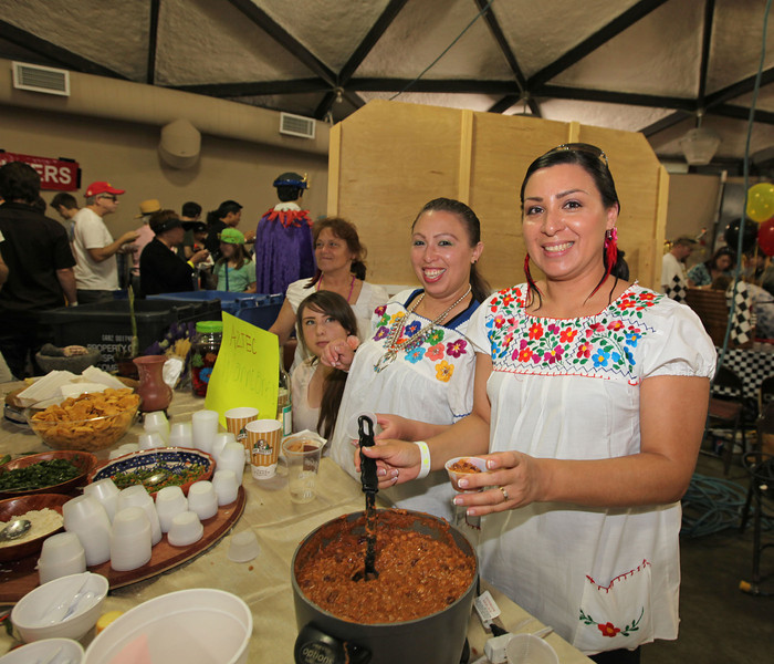 Aztec Warriors work the chili at The Great Petaluma Chili Cookoff, Salsa and Beer Tasting held at Herzog Hall in the Sonoma-Marin Fairgrounds on Saturday May 12, 2012. Photo by Victora Webb