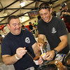 Shay Burke and Brian Webber, fire fighter/paramedic for Petaluma Fire Departmet, at The Great Petaluma Chili Cookoff, Salsa and Beer Tasting held at Herzog Hall in the Sonoma-Marin Fairgrounds on Saturday May 12, 2012. Photo by Victora Webb