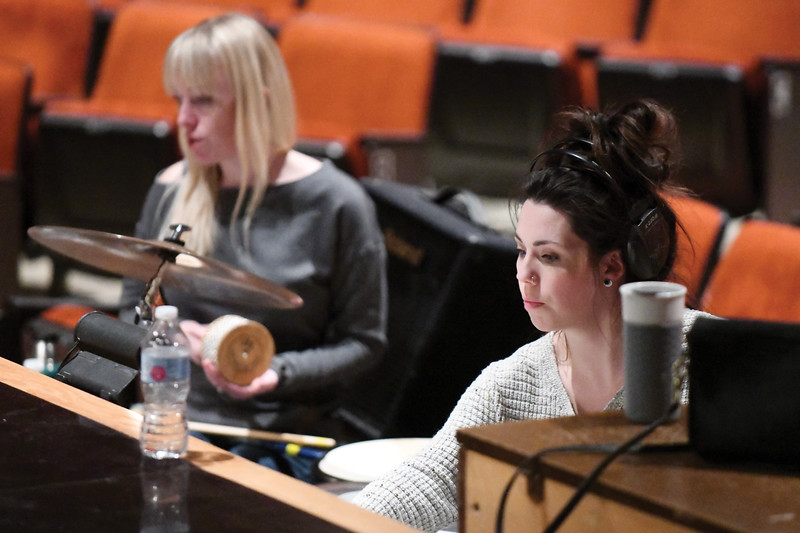 "Matthew Gaston | The Sheridan Press<br>From left, Amanda Patterson and music director Stefanie Wilkerson iron out the kinks for the score before the dress rehearsal of ""Peter and the Starcatcher"" at Sheridan High School Tuesday, Nov. 27, 2018."