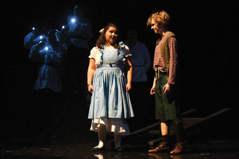 "Matthew Gaston | The Sheridan Press<br>Amaya Cook as Molly left, explains the dangers of star dust to Erin Hanson as Peter right, during the dress rehearsal for ""Peter and the Starcatcher"" Tuesday, Nov. 27, 2018."